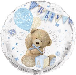 "Round 18"" Baby Boy Foil Helium Balloon (Not Inflated) - Bear, Balloons & Bunting"