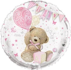 """Round 18"""" Baby Girl Foil Helium Balloon (Not Inflated) - Bear, Balloon & Bunting"""