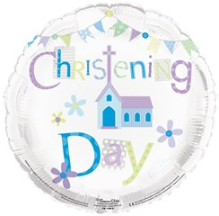 "Round 18"" Christening Foil Helium Balloon (Not Inflated) - Blue Church & Bunting"