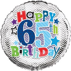 """Round 18"""" 65th Birthday Foil Helium Balloon (Not Inflated) - Age 65 Male Stars"""