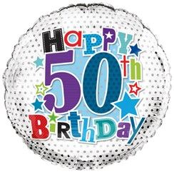 "Round 18"" 50th Birthday Foil Helium Balloon (Not Inflated) - Age 50 Male Stars"