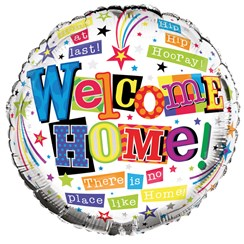 "Round 18"" Welcome Home Foil Helium Balloon (Not Inflated) - Bright Text & Stars"