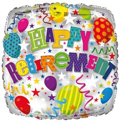 "Square 18"" Retirement Foil Helium Balloon (Not Inflated) - Balloons & Stars"