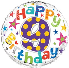 """Round 18"""" 9th Birthday Foil Helium Balloon (Not Inflated) - Age 9 Unisex Stars"""