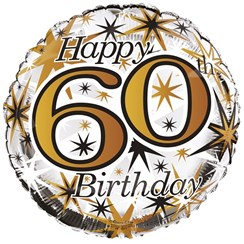 "Round 18"" 60th Birthday Foil Helium Balloon (Not Inflated) - Age 60 Unisex"