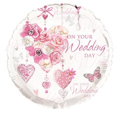 """Round 18"""" Wedding Day Foil Helium Balloon (Not Inflated) - Pink Hearts & Roses"""