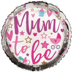 "Round 18"" Mum To Be Foil Helium Balloon (Not Inflated) - Bottle, Dummy & Stars"