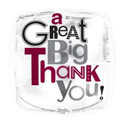 """Square 18"""" Thank You Foil Helium Balloon (Not Inflated) - Black & Mauve Text"""