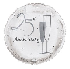 """Round 18"""" 25th Anniversary Foil Helium Balloon (Not Inflated) - Silver Flutes"""