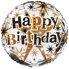 """Round 18"""" Happy Birthday Foil Helium Balloon (Not Inflated) - Black & Gold Stars"""