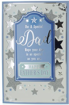 """Dad Father's Day Greetings Card - Blue Centre with Silver Foil Glitter Star 9x6"""""""