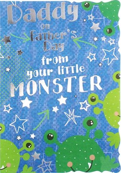 "Daddy Father's Day Greetings Card - Green Monsters & Silver Stars 7.75"" x 5.25"""