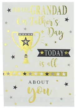 Grandad Father's Day Greetings Card - Gold Foil Trophy and Writing 7.75x5.25""