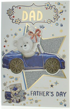 Dad Father's Day Greetings Card - Bear in Car with Glitter and Gold Foil 9x6""