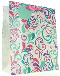 "Large Female Gift Bag - Modern Pink, Green & Lilac Swirl Pattern 13"" x 10.5"""