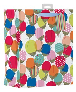 """Large Unisex Gift Bag - Bright Multicoloured Glitter Party Balloons 13"""" x 10.5"""""""
