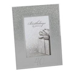 "Juliana 40th Birthday Glittered Mirrored Glass Photo Frame 8.5"" x 7"""