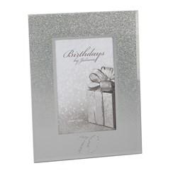 "Juliana 70th Birthday Glittered Mirrored Glass Photo Frame 8.5"" x 7"""