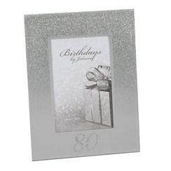 "Juliana 80th Birthday Glittered Mirrored Glass Photo Frame 8.5"" x 7"""