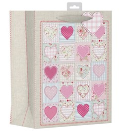 """2 x Large Female Gift Bags - Floral Patchwork Squares & Pink Hearts 13"""" x 10.25"""""""