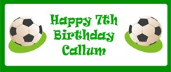Personalised Landscape Party Banner - Green Footballs - Add Your Own Message