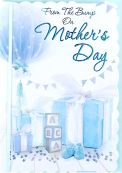 """From The Bump Mother's Day Greetings Card - Blue Balloon & Presents 7.5"""" x 5.25"""""""