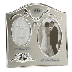 """Silver 25th Wedding Anniversary Silver Plated Double Photo Frame Gift 9"""" x 9"""""""