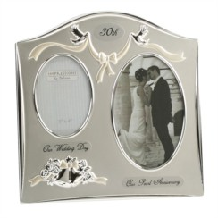 """Pearl 30th Wedding Anniversary Silver Plated Double Photo Frame Gift 9"""" x 9"""""""