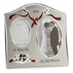 """Ruby 40th Wedding Anniversary Silver Plated Double Photo Frame Gift 9"""" x 9"""""""
