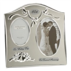 """Diamond 60th Wedding Anniversary Silver Plated Double Photo Frame Gift 9"""" x 9"""""""