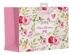"Large Female Gift Bag - Vintage Pink Happy Birthday Flowers & Bow 10.5"" x 13"""