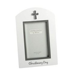 "Juliana White Wooden Christening Day Photo Frame With Silver Cross Gift 9"" x 6"""