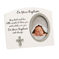 "Juliana White On Your Baptism Photo Frame With Silver Cross & Verse Gift 6"" x 9"""