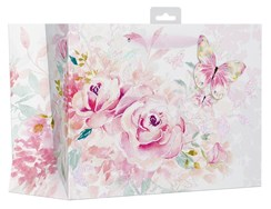"""2 x Large Female Gift Bag - Pink Watercolour Roses & Big Butterfly 13"""" x 10.25"""""""