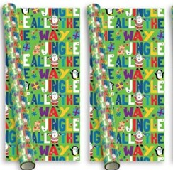 10m (2 x 5m) Novelty Christmas Gift Wrapping Paper - Santa Friends Green Jingle