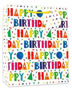 "Medium Birthday Gift Bag - Multicoloured Happy Birthday Text 10""x8.5"""