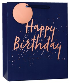 """Medium Male Happy Birthday Gift Bag - Navy Blue with Copper Foil 10"""" x 8.5"""""""