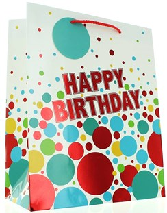 "Large Male Gift Bag - Modern Bright Multicoloured Birthday Spots 13"" x 10.5"""