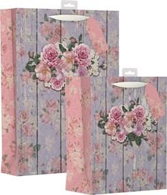 1 Large & 1 Extra Large Female Gift Bag - Vintage Big Roses & Floral Wooden Wall