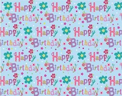 Female Happy Birthday Floral Wrapping Paper - 1 Sheet & Matching Gift Tag