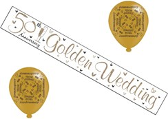 Golden 50th Wedding Anniversary Party Pack - 50th Anniversary Banner & Balloons