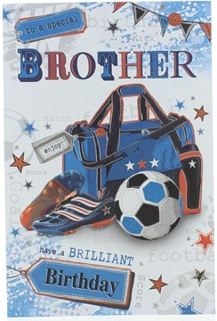 """Brother Birthday Card - Sports Bag Football & Boots with Stars & Foil 10.5"""" x 7"""""""