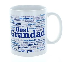 Best Grandad Typo White 11oz Mug In Blue Gift Box - Birthday, Father's Day, Xmas