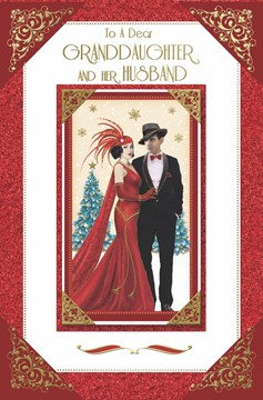 """Granddaughter & Husband Christmas Card - Couple by Xmas Tree Gold Foil 11"""" x 7"""""""