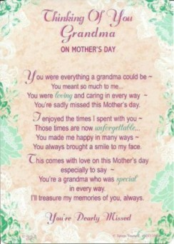 "Loving Memory Graveside Memorial Mother's Day Card - Thinking Of Grandma 6"" x 4"""