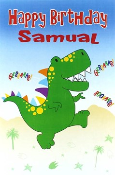 """Open Male Personalised Birthday Card - Any Name - Big Green Dinosaur 8.5"""" x 5.5"""""""