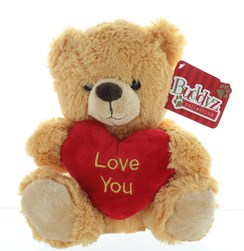 """8"""" Golden Brown Teddy Bear Soft Toy Plush Holding Red 'I Love You' Heart"""