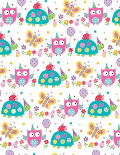 Girls Owl, Tortoise, Butterfly Wrapping Paper - 1 Sheet & 1 Matching Gift Tag