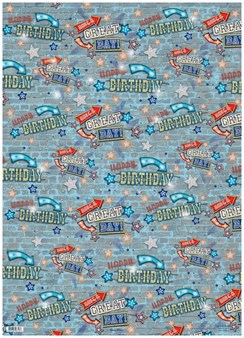 Male Blue Brick Wall Happy Birthday Wrapping Paper - 1 Sheet & 1 Matching Tag