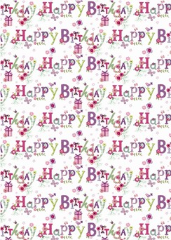 Vintage Floral Happy Birthday Wrapping Paper & 1 Sheet & Matching Gift Tag